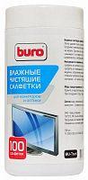 Салфетки Buro BU-Tscrl для экранов ЭЛТ мониторов/плазменных/ЖК телевизоров/мониторов с покрытием из стекла туба 100шт влажных