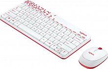 Клавиатура + мышь Logitech MK240 клав:белый/красный мышь:белый/красный USB беспроводная slim Multimedia