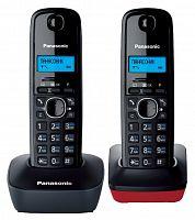 Р/Телефон Dect Panasonic KX-TG1612RU3 темно-серый/красный (труб. в компл.:2шт) АОН
