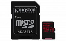 Флеш карта microSDXC 64Gb Class10 Kingston SDCR/64GB Canvas React + adapter