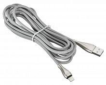 Кабель Digma USB A(m) Lightning (m) 3м серебристый