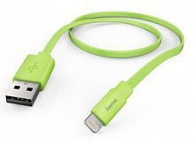 Кабель Hama Flat 00173647 Lightning (m) USB A(m) 1.2м зеленый плоский