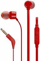Гарнитура вкладыши JBL Т110 1.2м красный проводные (в ушной раковине)