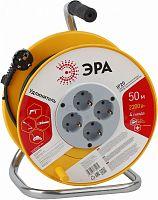 Удлинитель силовой Эра RP-4-3x1-50m (Б0033023) 3x1.0кв.мм 4розет. 50м ПВС 10A катушка желтый