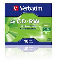 Диск CD-RW Verbatim 700Mb 4x Jewel case (10шт) (43123)