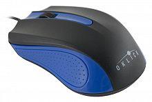 Мышь Оклик 225M черный/синий оптическая (1000dpi) USB (3but)