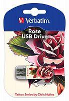 Флеш Диск Verbatim 16Gb Mini Tattoo Rose 49885 USB2.0 белый/рисунок