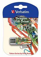 Флеш Диск Verbatim 16Gb Mini Tattoo Dragon 49888 USB2.0 белый/рисунок