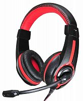 Наушники с микрофоном Оклик HS-L200 черный/красный 2м мониторные оголовье (Y-819)