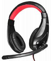 Наушники с микрофоном Oklick HS-L100 черный/красный 2м мониторные оголовье (NO-530)