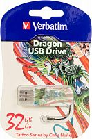 Флеш Диск Verbatim 32Gb Mini Tattoo Dragon 49899 USB2.0 белый/рисунок