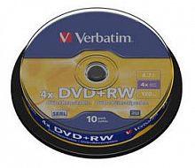 Диск DVD+RW Verbatim 4.7Gb 4x Cake Box (10шт) (43488)