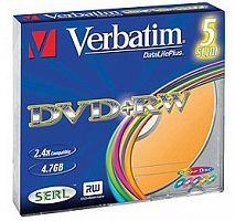 Диск DVD+RW Verbatim 4.7Gb 4x Slim case (5шт) Color (43297)
