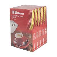 Фильтры для кофе для кофеварок Filtero Premium №4 белый 1х4 (упак.:200шт)
