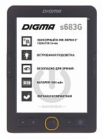 "Электронная книга Digma S683G 6"" E-ink HD Carta 1024x758 Touch Screen/4Gb/microSDHC/подсветка дисплея серый"