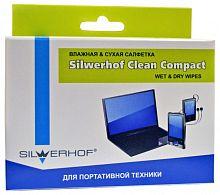 Салфетки Silwerhof для планшетов и смартфонов коробка 10шт сухих+10шт влажных