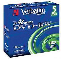 Диск DVD-RW Verbatim 4.7Gb 4x Jewel case (5шт) (43285)