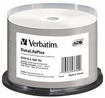Диск DVD-R Verbatim 4.7Gb 16x Cake Box (50шт) Printable (43744)