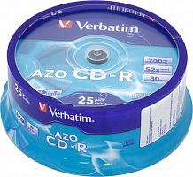 Диск CD-R Verbatim 700Mb 52x Cake Box (25шт) (43352)