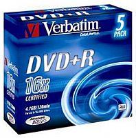 Диск DVD+R Verbatim 4.7Gb 16x Slim case (5шт) Color (43556)