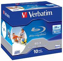 Диск BD-R Verbatim 25Gb 6x Jewel case (10шт) Printable Scratch proof (43713)