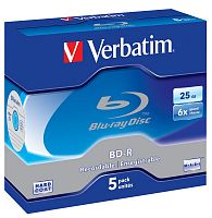 Диск BD-R Verbatim 25Gb 6x Jewel case (5шт) Scratch proof (43715)
