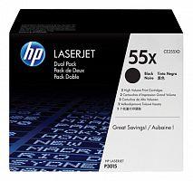 Картридж лазерный HP 55X CE255XD черный x2упак. (25000стр.) для HP LJ P3015d/P3015dn/P3015n/P3015x