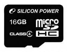 Флеш карта microSDHC 16Gb Class4 Silicon Power SP016GBSTH004V10SP + adapter
