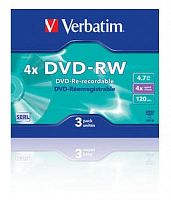 Диск DVD-RW Verbatim 4.7Gb 4x Slim case (3шт) (43635)