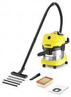 Строительный пылесос Karcher WD4 Premium 1000Вт (уборка: сухая/сбор воды) желтый