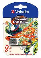 Флеш Диск Verbatim 8Gb Store n Go Mini Tattoo Phoenix 49883 USB2.0 белый/рисунок
