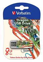 Флеш Диск Verbatim 8Gb Store n Go Mini Tattoo Dragon 49884 USB2.0 белый/узор