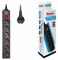 Сетевой фильтр Buro 600SH-3-B 3м (6 розеток) черный (коробка)