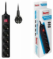 Сетевой фильтр Buro 500SH-5-B 5м (5 розеток) черный (коробка)