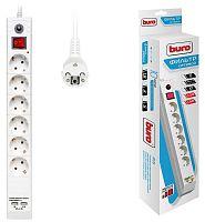 Сетевой фильтр Buro BU-SP3_USB_2A-W 3м (6 розеток) белый (коробка)