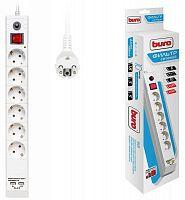 Сетевой фильтр Buro BU-SP5_USB_2A-W 5м (6 розеток) белый (коробка)