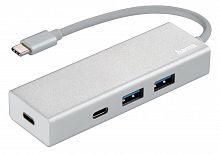 Разветвитель USB-C Hama Aluminium 4порт. белый (00135755)