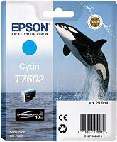 Картридж струйный Epson T7602 C13T76024010 голубой (25.9мл) для Epson SureColor SC-P600