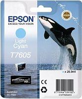 Картридж струйный Epson T7605 C13T76054010 светло-голубой (25.9мл) для Epson SureColor SC-P600