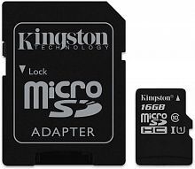 Флеш карта microSDHC 16Gb Class10 Kingston SDCS/16GB Canvas Select + adapter