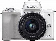 "Фотоаппарат Canon EOS M50 белый 24.1Mpix 3"" 4K WiFi 15-45 IS STM LP-E12 (с объективом)"