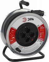 Удлинитель силовой Эра RM-4-3x1.5-30m-IP44 (Б0035320) 3x1.5кв.мм 4розет. 30м КГ 16A метал.катушка черный