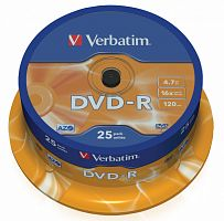 Диск DVD-R Verbatim 4.7Gb 16x Cake Box (25шт) (43522)