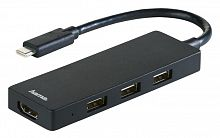 Разветвитель USB-C Hama 00135762 3порт. черный