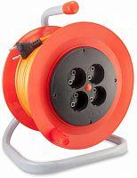 Удлинитель силовой LUX К4-О-30-24030 2x0.75кв.мм 4розет. 30м ПВС 6A катушка оранжевый