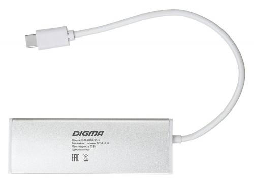 Разветвитель USB-C Digma HUB-4U3.0-UC-S 4порт. серебристый фото 4