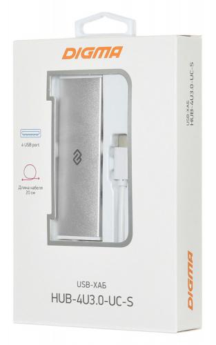 Разветвитель USB-C Digma HUB-4U3.0-UC-S 4порт. серебристый фото 6
