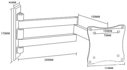"""Кронштейн для телевизора Arm Media LCD-7101 белый 10""""-26"""" макс.15кг настенный поворотно-выдвижной и наклонный фото 2"""