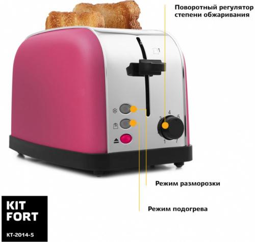 Тостер Kitfort КТ-2014-5 850Вт розовый/серебристый фото 3