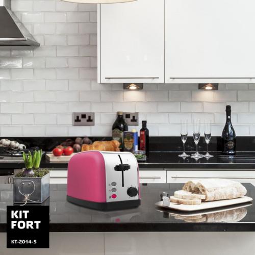 Тостер Kitfort КТ-2014-5 850Вт розовый/серебристый фото 6